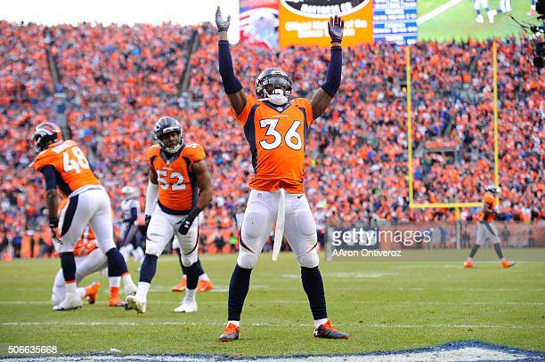 Kayvon Webster of the Denver Broncos celebrates downing a punt at the third yard line in the third quarter The Denver Broncos played the New England...