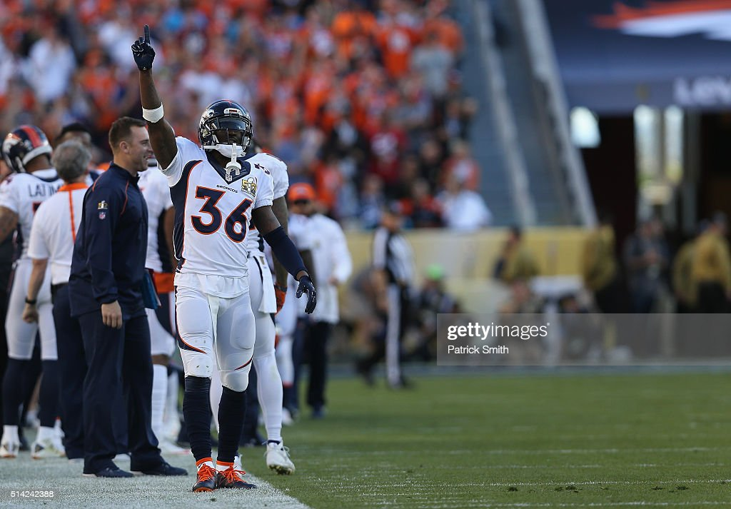 Kayvon Webster #36 of the Denver Broncos reacts on the sidelines against the Carolina Panthers during Super Bowl 50 at Levi's Stadium on February 7, 2016 in Santa Clara, California.