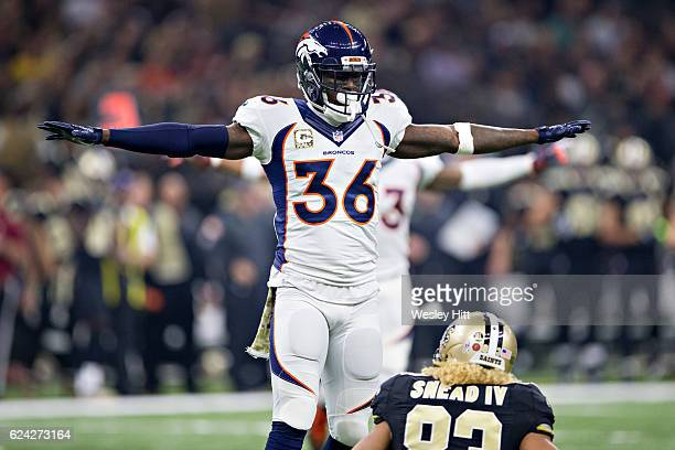 Kayvon Webster of the Denver Broncos signals incomplete after breaking up a pass thrown to Willie Snead IV of the New Orleans Saints at MercedesBenz...