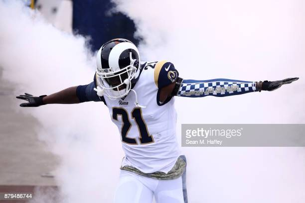 Kayvon Webster of the Los Angeles Rams enters the field prior to a game against the Houston Texans at Los Angeles Memorial Coliseum on November 12...