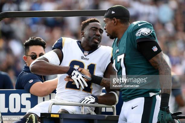 Kayvon Webster of the Los Angeles Rams shakes hand with Alshon Jeffery of the Philadelphia Eagles after getting injured during the first quarter of...