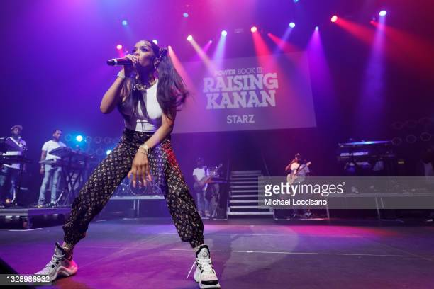 Kayykilo performs onstage during 'Power Book III: Raising Kanan' global premiere event and screening at Hammerstein Ballroom on July 15, 2021 in New...