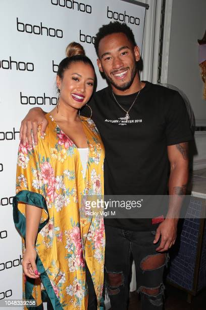 Kaz Crossley and Josh Denzel attend the Boohoo X Kendall Knight launch dinner at Langham Hotel on October 9 2018 in London England