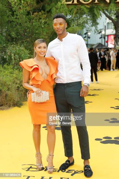 Kaz Crossley and Theo Campbell attend the European Premiere of The Lion King at Odeon Luxe Leicester Square on July 14 2019 in London England