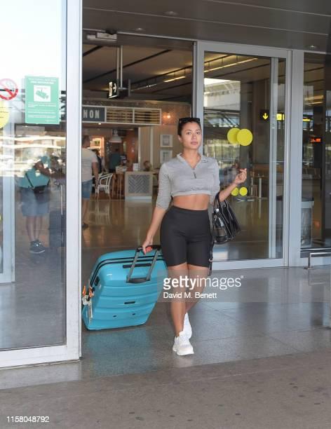 Kaz Crossley arrives at Malaga airport ahead of boohoo boohooMAN event on July 27 2019 in Marbella Spain