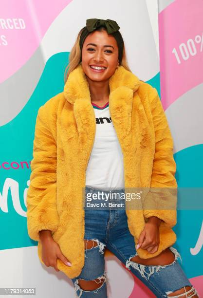 Kaz Crossley attends the launch preview of eos lip balm popup the KeosK on November 1 2019 in London England The shop is open for one day only on...