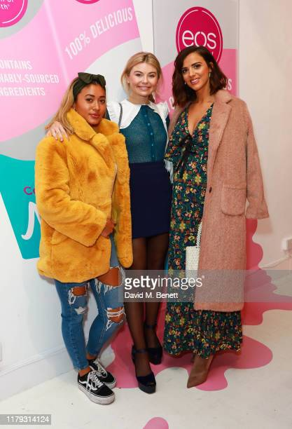 Kaz Crossley Georgia Toffolo and Lucy Mecklenburgh attend the launch preview of eos lip balm popup the KeosK on November 1 2019 in London England The...