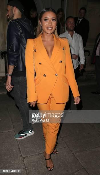 Kaz Crossley seen attending LFW s/s 2019 Julien Macdonald catwalk show afterparty at St John's Hyde Park during London Fashion Week September 2018 on...