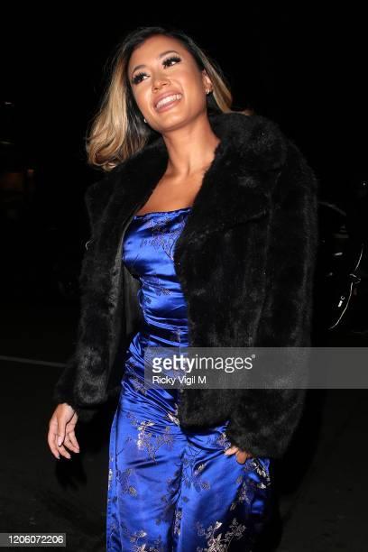 Kaz Crossley seen attending PrettyLittleThing x Tatti Lashes dinner at The ivy Chelsea Garden on February 13 2020 in London England