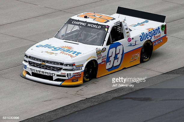 Kaz Grala driver of the Allegiant Travel Chevrolet practices for the NASCAR Camping World Truck Series at Dover International Speedway on May 12 2016...