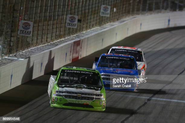 Kaz Grala driver of the Stealth Chevrolet leads a pack of cars during the NASCAR Camping World Truck Series JAG Metals 350 Driving Hurricane Harvey...