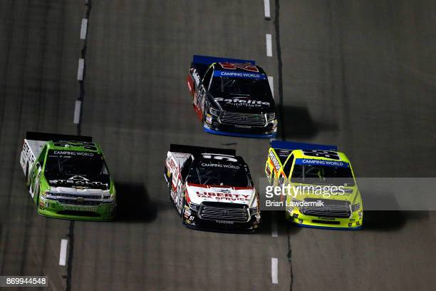 Kaz Grala driver of the Stealth Chevrolet Myatt Snider driver of the Liberty Tax Service Toyota and Matt Crafton driver of the Ideal Door/Menards...