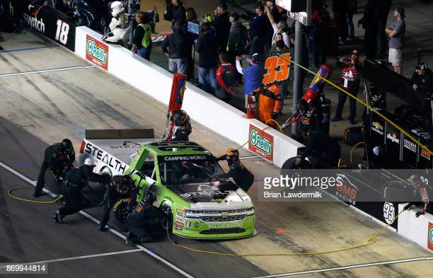 Kaz Grala driver of the Stealth Chevrolet pits during the NASCAR Camping World Truck Series JAG Metals 350 Driving Hurricane Harvey Relief at Texas...