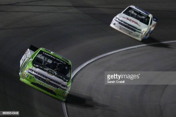 Kaz Grala driver of the Stealth Chevrolet races during the NASCAR Camping World Truck Series JAG Metals 350 Driving Hurricane Harvey Relief at Texas...