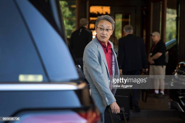 Kaz Hirai chairman of the Sony Corporation arrives at the Sun Valley Resort for the annual Allen Company Sun Valley Conference July 10 2018 in Sun...