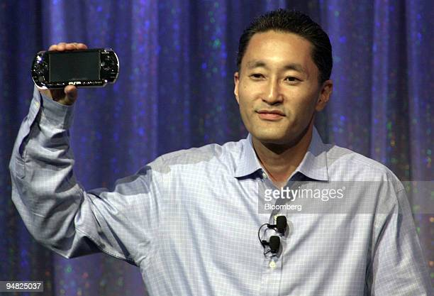 Kaz Hiri President and chief executive officer of Sony Computer Entertainment America introduces the PSP or PlayStation Portable video game console...