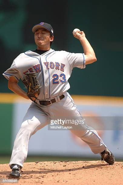Kaz Ishii of the New York Mets pitches during a game against the Washington Nationals on July 4 2005 at RFK Stadium in Washington DC The Mets...