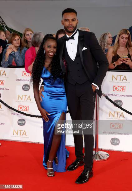 Kaz Kamwi and Tyler Cruickshank attend the National Television Awards 2021 at The O2 Arena on September 09, 2021 in London, England.