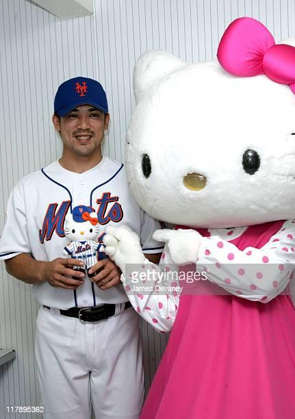 Kaz Matsui and Hello Kitty during Hello Kitty Celebrates 30th Anniversary at NY Mets' Shea Stadium on Hello Kitty Day at Shea Stadium in Flushing...