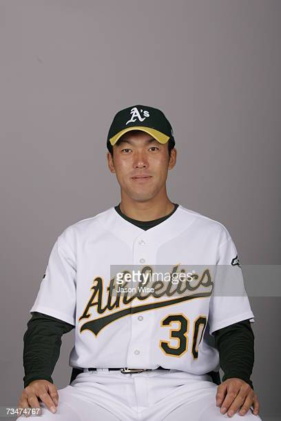 Kaz Tadano of the Oakland Athletics poses during photo day at Phoenix Stadium on February 24 2007 in Phoenix Arizona