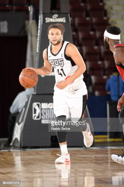 Kaza Keane of the Raptors 905 handles the ball during the NBA GLeague Showcase Game 22 between the Sioux Falls Skyforce and the Raptors 905 on...