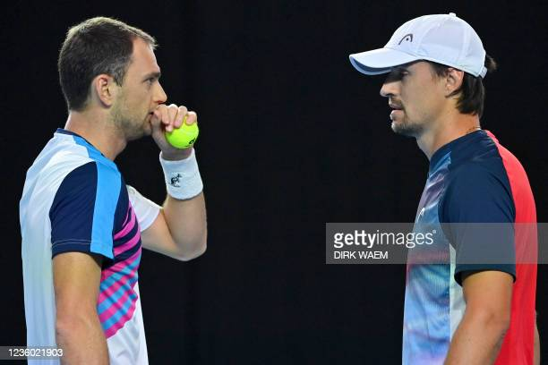 Kazach Aleksandr Nedovyesov and Ukrainian Denys Molchanov pictured in action during a doubles men game between Ukrainian Molchanov and Kazach...