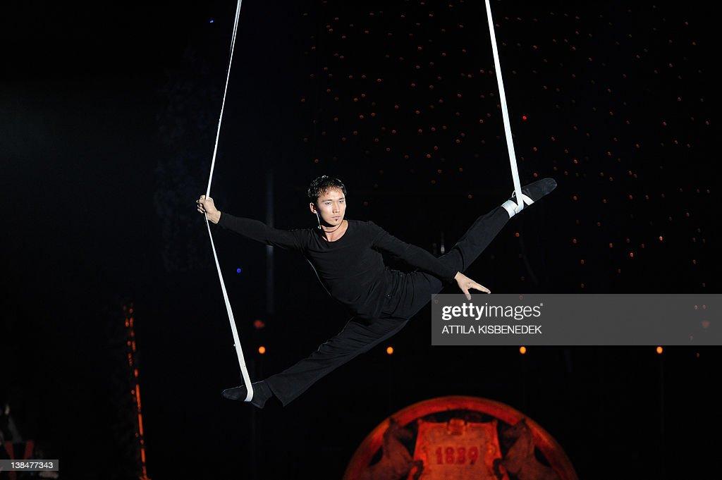 Kazah acrobat Darkan performs late on Fe : News Photo