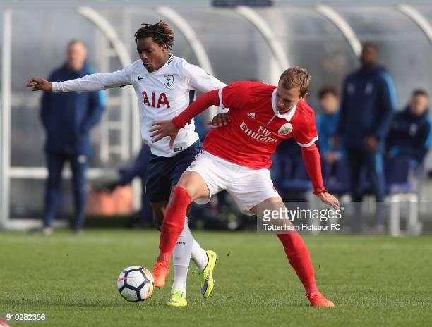 Kazaiah Sterling of Spurs battles with Branimir Kalaica of Benfica during the Premier League International Cup match between Tottenham Hotspur U23...