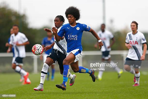 Kazaiah Sterling of Spurs battles with Hamza Chaudhury of Leicester City during the Barclays U21 Premier League match between Tottenham Hotspur U21...