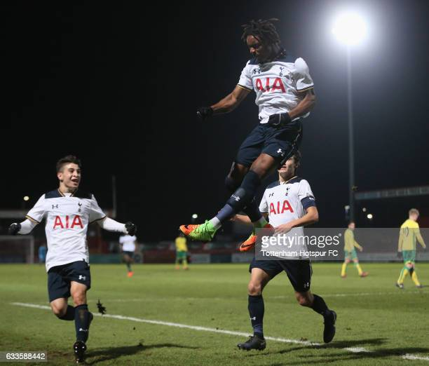 Kazaiah Sterling of Tottenham celebrates scoring their first goal during the FA Youth Cup match between Tottenham Hotspur and Norwich City at...