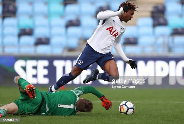 Kazaiah Sterling of Tottenham Hotspur and Daniel Grimshaw of Manchester City during the Premier League 2 match at The Academy Stadium on November 25...