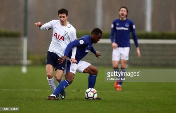 Kazaiah Sterling of Tottenham Hotspur and Dennis Adeniran of Everton during the Premier League 2 match between Tottenham Hotspur and Everton on...