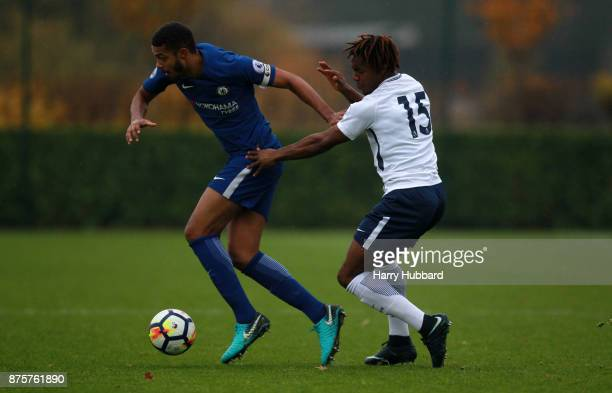 Kazaiah Sterling of Tottenham Hotspur and Jake ClarkeSalter of Chelsea in action during a Premier League 2 match between Tottenham Hotspur and...