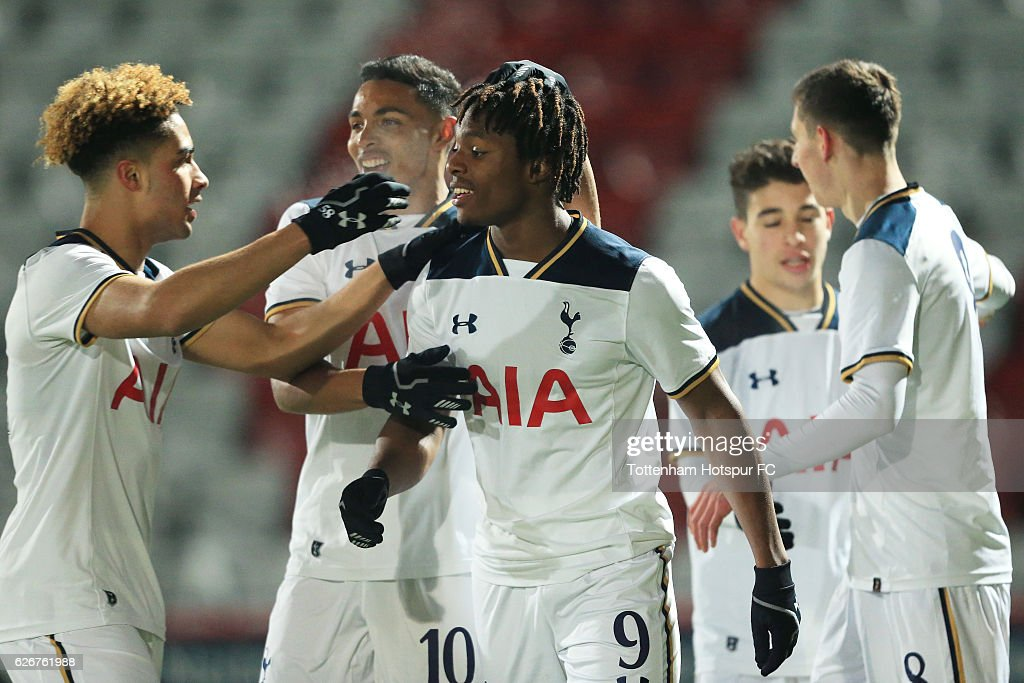 Kazaiah Sterling of Tottenham Hotspur celebrates after scoring his team's second goal of the game during the FA Youth Cup Third Round between Tottenham Hotspur and Stevenage at The Lamex Stadium on November 30, 2016 in Stevenage, England.