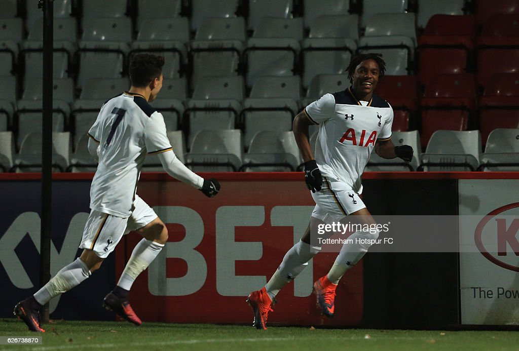 Kazaiah Sterling of Tottenham Hotspur celebrates after scoring the opening goal of the game during the FA Youth Cup Third Round between Tottenham Hotspur and Stevenage at The Lamex Stadium on November 30, 2016 in Stevenage, England.