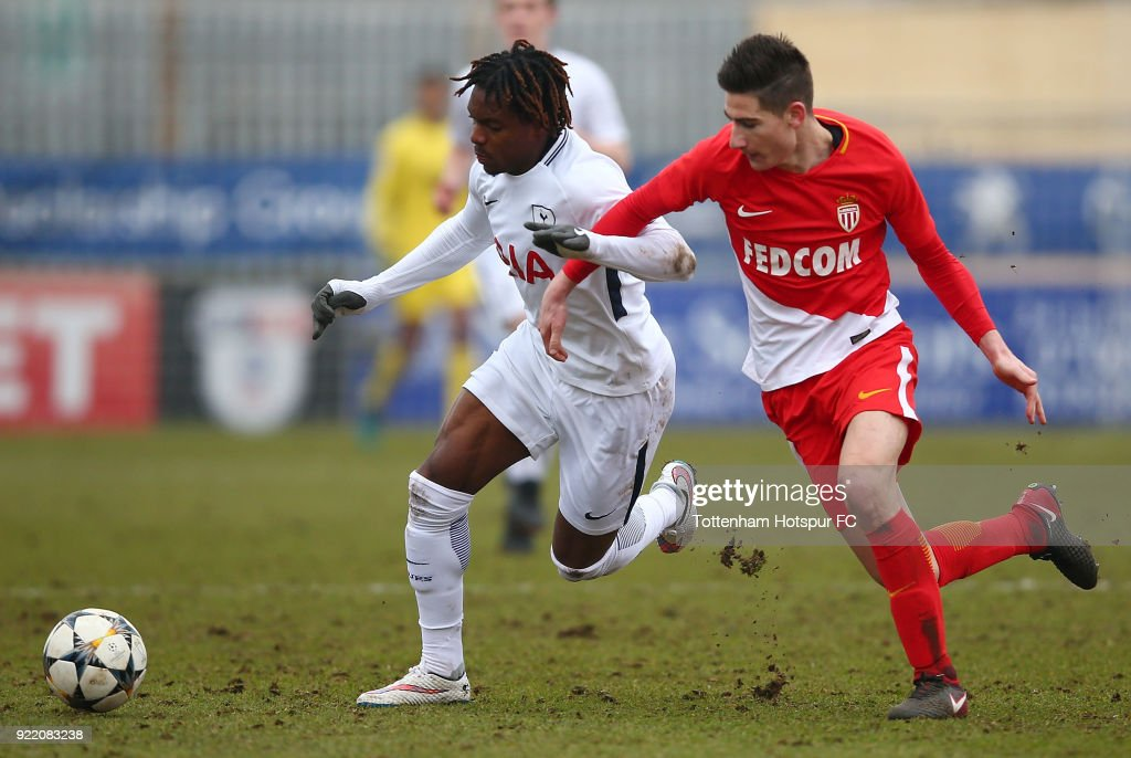 Kazaiah Sterling of Tottenham Hotspur compete for the ball at The Lamex Stadium on February 21, 2018 in Stevenage, England.