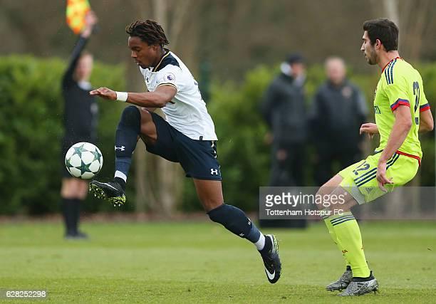 Kazaiah Sterling of Tottenham Hotspur evades Mutalip Alibekov of CSKA Moscow during the UEFA Youth Champions League match between Tottenham Hotspur...