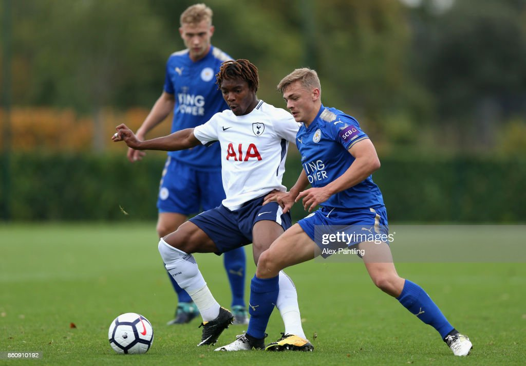 Kazaiah Sterling of Tottenham Hotspur is closed down by Kiernan Dewsburry-Hall of Leicsester City during the Premier League 2 match between Tottenham Hotspur and Leicester City at Enfield Training Centre on October 13, 2017 in Enfield, England.