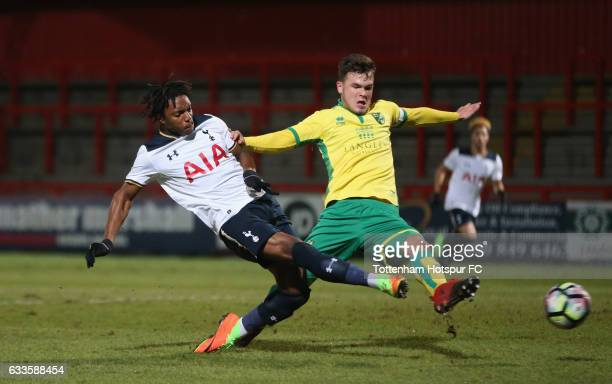 Kazaiah Sterling of Tottenham scores their first goal during the FA Youth Cup match between Tottenham Hotspur and Norwich City at Broadhall Way on...