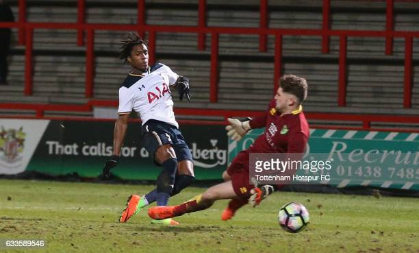 Kazaiah Sterling of Tottenham scores their second goal during the FA Youth Cup match between Tottenham Hotspur and Norwich City at Broadhall Way on...