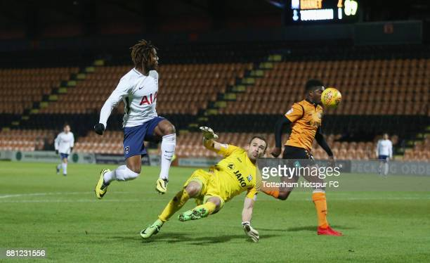 Kazaiah Sterling shoots at goal during the Checkatrade Trophy match between Barnet and Tottenham Hotspur U23 at The Hive on November 28 2017 in...