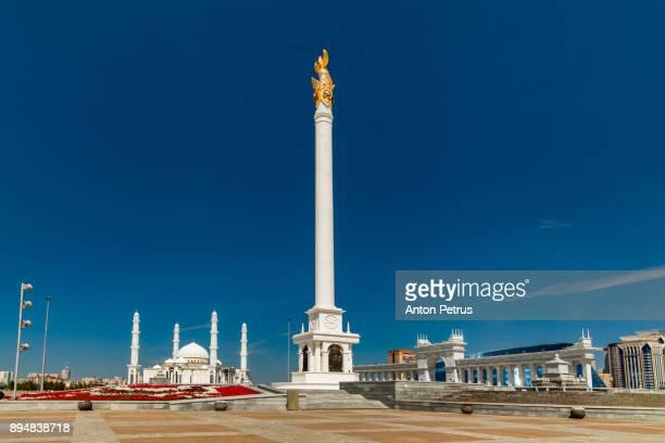 kazak eli stella. independent symbol of kazakhstan. astana - astana stock photos and pictures