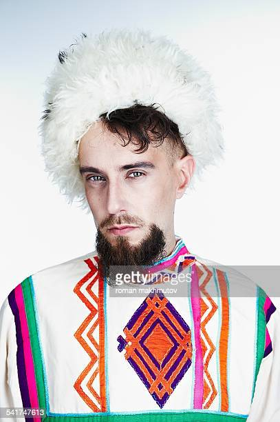kazak (cossack) - fur hat stock photos and pictures