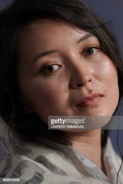 Kazakh actress Samal Yeslyamova attends on May 18 2018 a press conference for the film Ayka at the 71st edition of the Cannes Film Festival in Cannes...