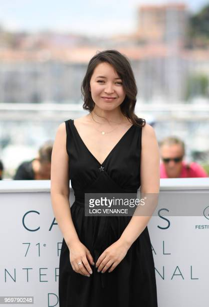 Kazakh actress Samal Yeslyamova poses on May 18 2018 during a photocall for the film 'Ayka ' at the 71st edition of the Cannes Film Festival in...