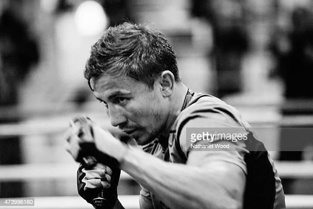BIG BEAR CA NOVEMBER 01 2014 Kazakh boxer Gennady Golovkin is photographed for Men's Fitness on November 1 2014 in Big Bear California