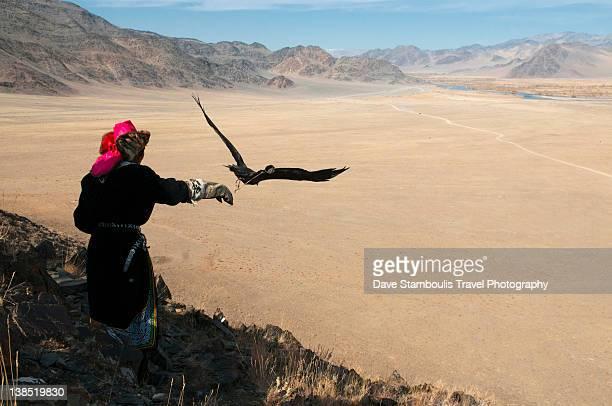 Kazakh eagle hunter letting golden eagle fly