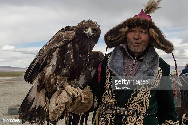 kazakh eagle hunter with his golden eagle - independent mongolia stock pictures, royalty-free photos & images