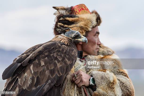 Kazakh Eagle Hunter with His Golden Eagle