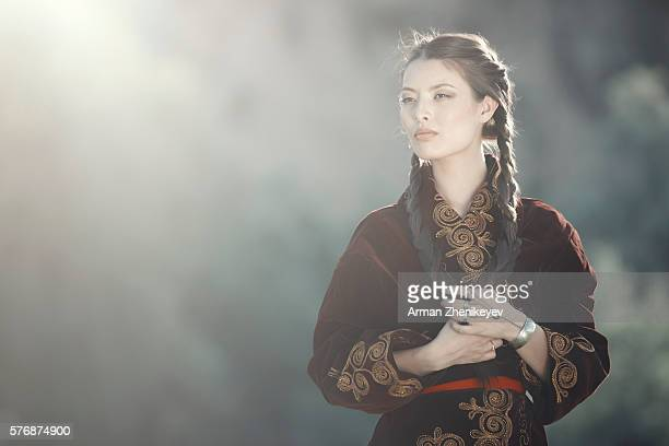 kazakh girl - mongolian women stock photos and pictures